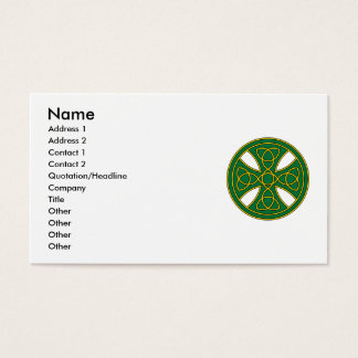 Round Celtic Cross in green and gold Business Card