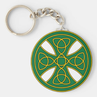 Round Celtic Cross in green and gold Keychain