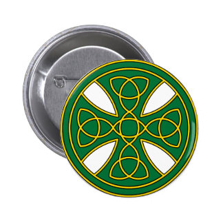 Round Celtic Cross in green and gold Pinback Button