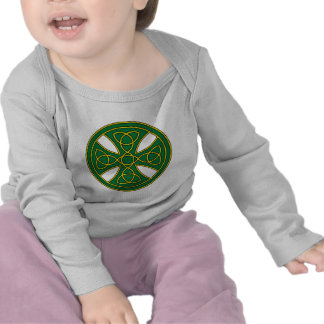 Round Celtic Cross in green and gold Tshirts