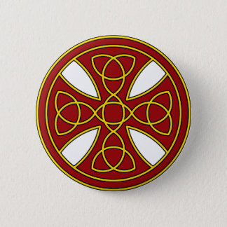 Round Celtic Cross in red and gold Button