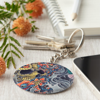 "Round Chaveiro ""Abstract Tatoo "" Keychain"