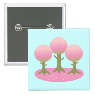 Round Cherry Blossom Trees Button