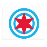Round Chicago Flag Post Cards