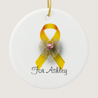Round Childhood Cancer Awareness Angel Ornament