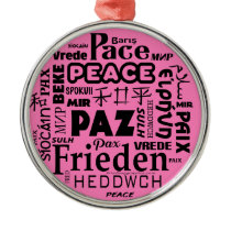 Round Christmas decoration Peace words