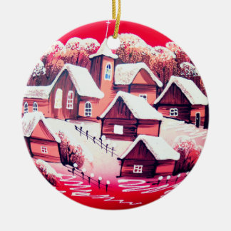 Round Christmas Decoration with Winter Village