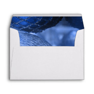 Round Christmas Holiday Decorations, Blue Photo Envelope