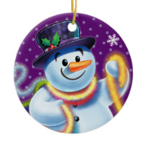 Round Christmas tree decoration Snowman & tinsel.
