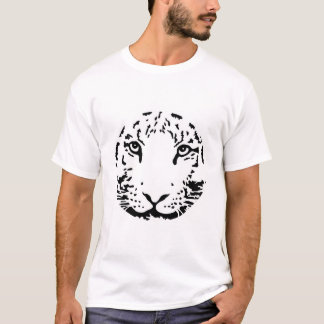 Round circle head face white tiger T-Shirt