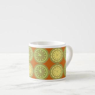 Round clocks pattern espresso cup