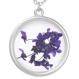 Round collar Violets Silver Plated Necklace