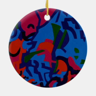 Round, colourful Abstract Art xmas decorations Ceramic Ornament