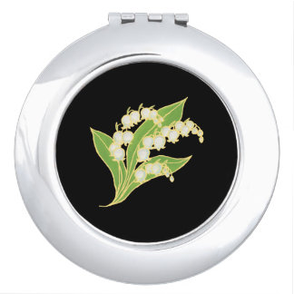 Round Compact Mirror: Lily of the Valley on Black Vanity Mirror