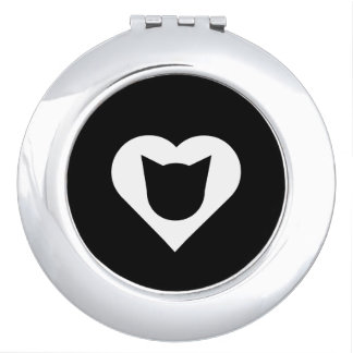 Round Compact Mirror with Cat and White Heart