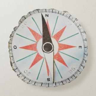 Round compass sea adventure cover round pillow