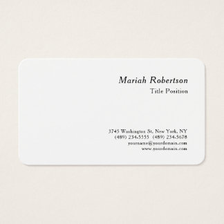 Round Corner Minimalist Charming Modern White Business Card