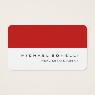 Round Corner Red White Real Estate Agent Business Card