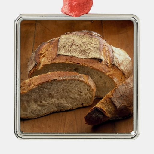 Round country-style bread cut in slices For Square Metal Christmas Ornament