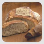 Round country-style bread cut in slices For Square Sticker