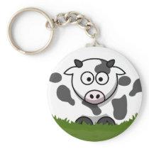 Round Cow Keychain