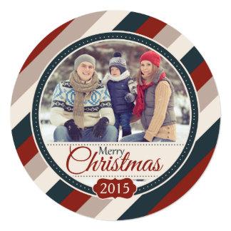 Round Cozy Stripes Christmas Photo Flat Card