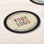 "Round Custom Pulpboard Paper Coasters Company Logo<br><div class=""desc"">Easily personalize these round pulpboard paper coasters with your own company logo, business slogan, website address, or other custom text. These are 50 point pulpboard (THE SIDE VIEW IS SHOWING A SET OF SIX) featuring a black border with curved text. You can change the background color to match your logo...</div>"