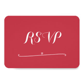 Round Custom Red Wedding RSVP Cards With Heart