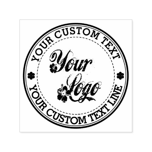 Round Custom Your Text With Logo Self_inking Stamp