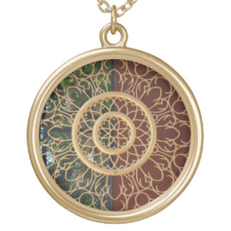 round delicate design gold plated necklace