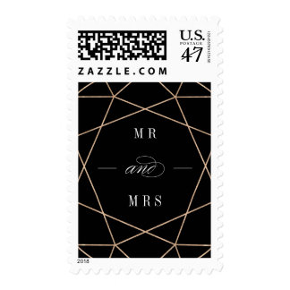 Round Diamond Geometric Mr And Mrs Wedding Stamps