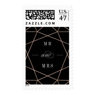 Round Diamond Geometric Mr And Mrs Wedding Stamps