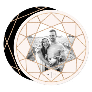 Round Diamond Geometric Save The Date Photo Card