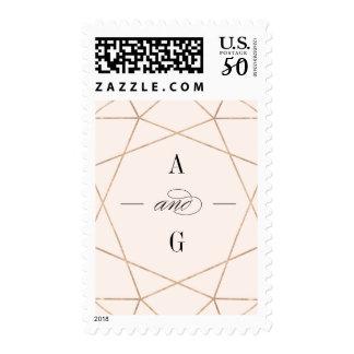 Round Diamond Geometric Wedding Monogram Stamps