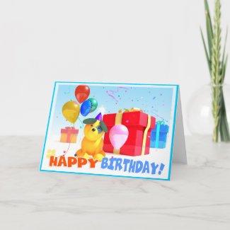 Round Dog Birthday Card card