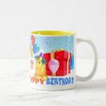 """Round Dog """"Happy Birthday!"""" mug"""