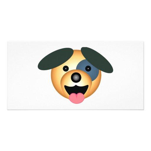 Round dog happy design photo card
