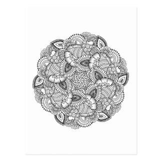Round Doodle Design Postcard