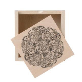 Round Doodle Design Wooden Keepsake Box