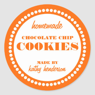 Round Dot Chocolate Chip Cookie Label Template