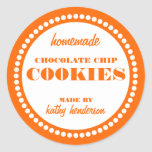 Round Dot Chocolate Chip Cookie Label Template Classic Round Sticker