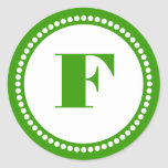 Round Dot Frame Monogram Template in Grass Green Classic Round Sticker