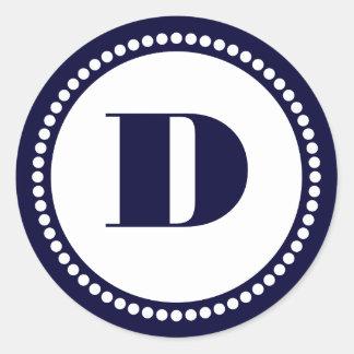 Round Dot Frame Monogram Template in Navy Blue Classic Round Sticker