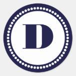 Round Dot Frame Monogram Template in Navy Blue Sticker