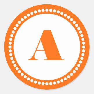 Round Dot Frame Monogram Template in Orange Round Stickers