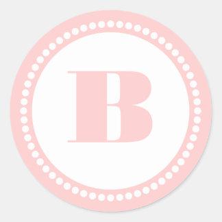 Round Dot Frame Monogram Template in Pink Classic Round Sticker