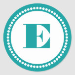 Round Dot Frame Monogram Template in Turquoise Round Stickers