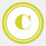 Round Dot Frame Monogram Template in Yellow Green Round Sticker