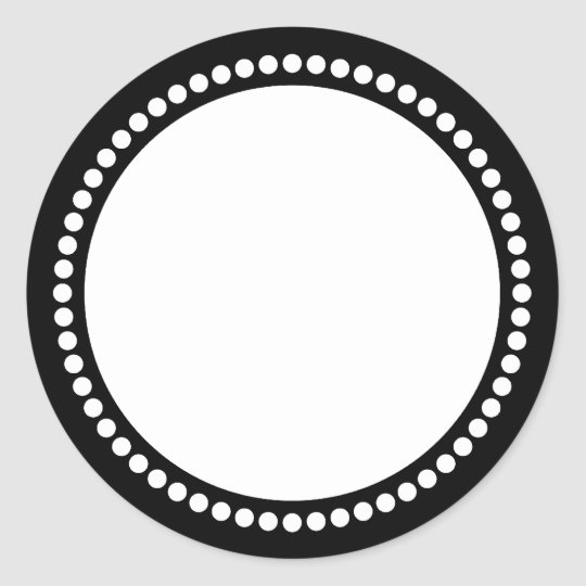 Round Dot Frame Template in Black Classic Round Sticker