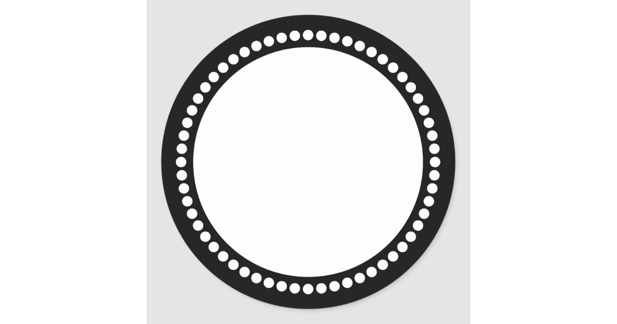 Round Dot Frame Template in Black Classic Round Sticker | Zazzle.com